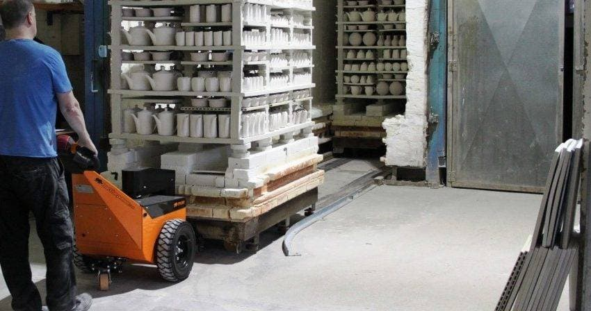 Moving kiln carts with a TP250 Electric tug