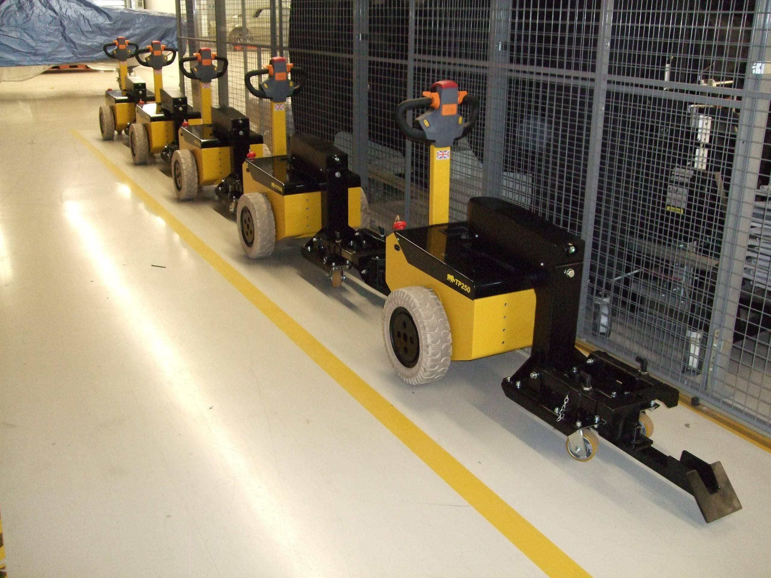 Battery powered tugs used in manufacturing - vehicle movers